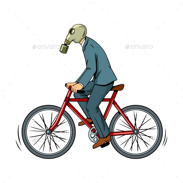 Cycling with Bad Ecology Pop Art Vector - People Characters