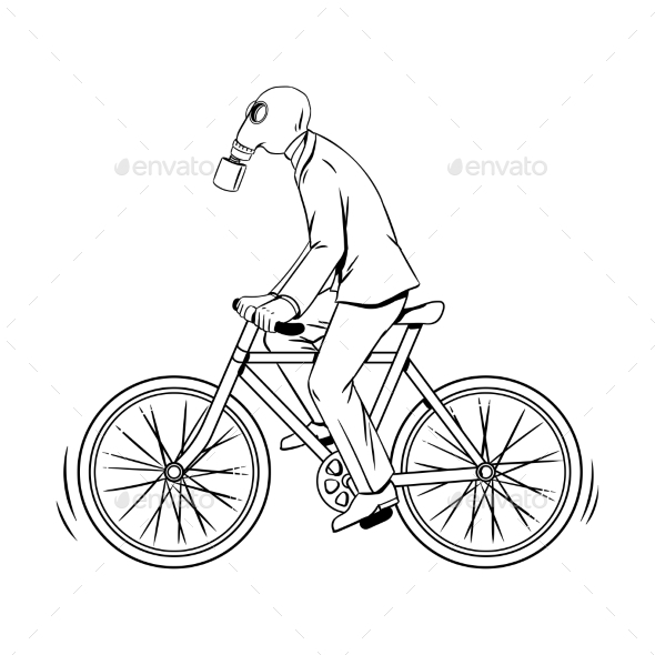 Cycling with Bad Ecology Coloring Book Vector - People Characters