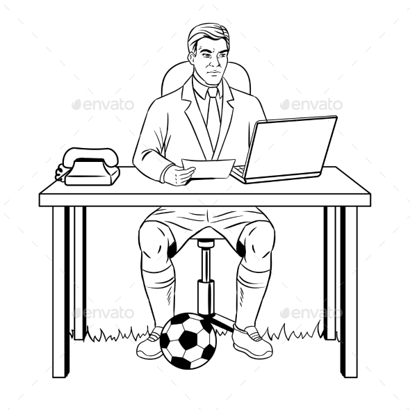 Businessman Soccer Coloring Book Vector - People Characters