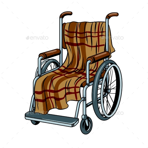 Wheelchair with Plaid Pop Art Vector - Man-made Objects Objects