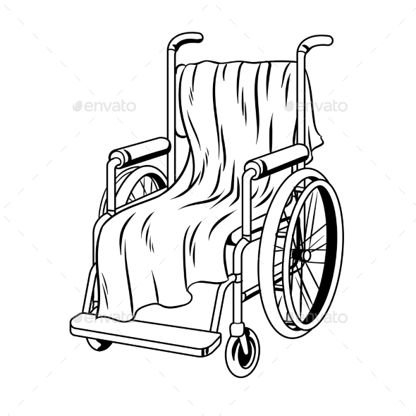 Wheelchair with Plaid Coloring Book Vector - Man-made Objects Objects
