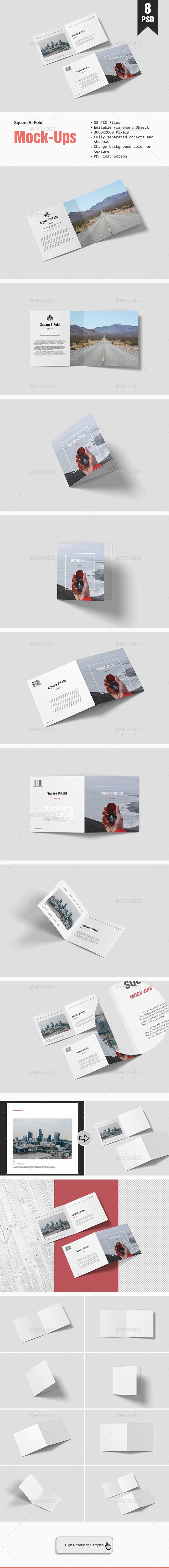 Square Bifold Mockup - Brochures Print