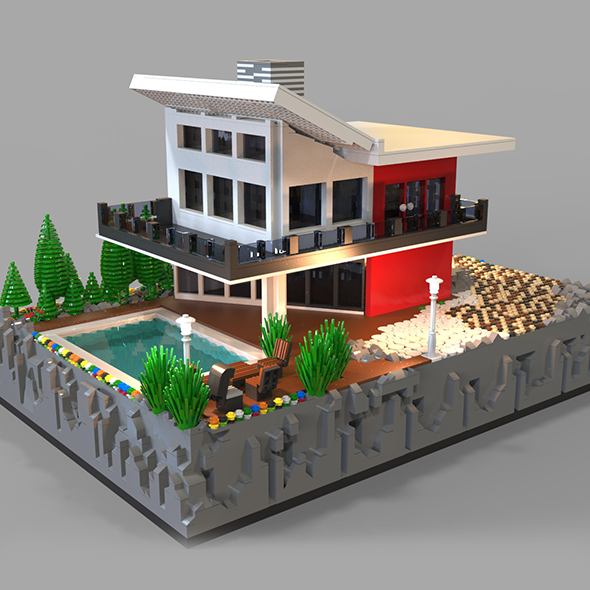 Lego Villa 3D model - 3DOcean Item for Sale