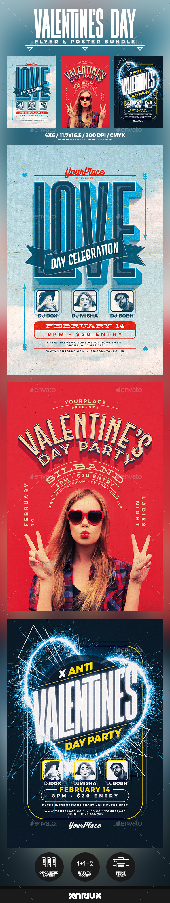 Valentine's Day Flyer and Poster Bundle - Events Flyers