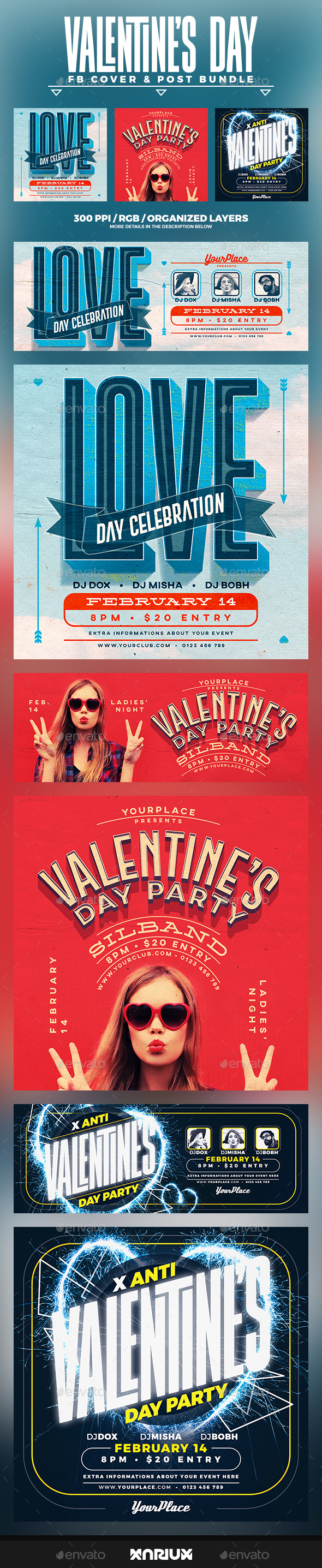 Valentine's Day Facebook Cover Bundle - Social Media Web Elements