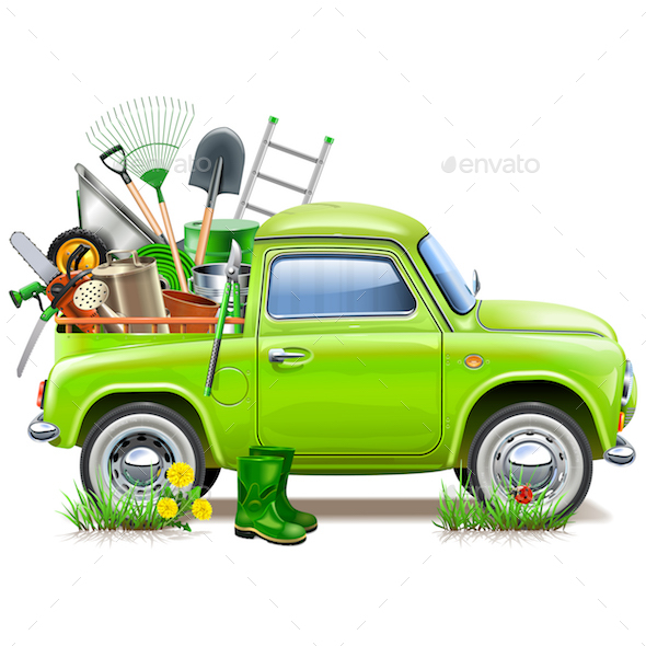 Vector Pickup Truck with Garden Accessories - Man-made Objects Objects