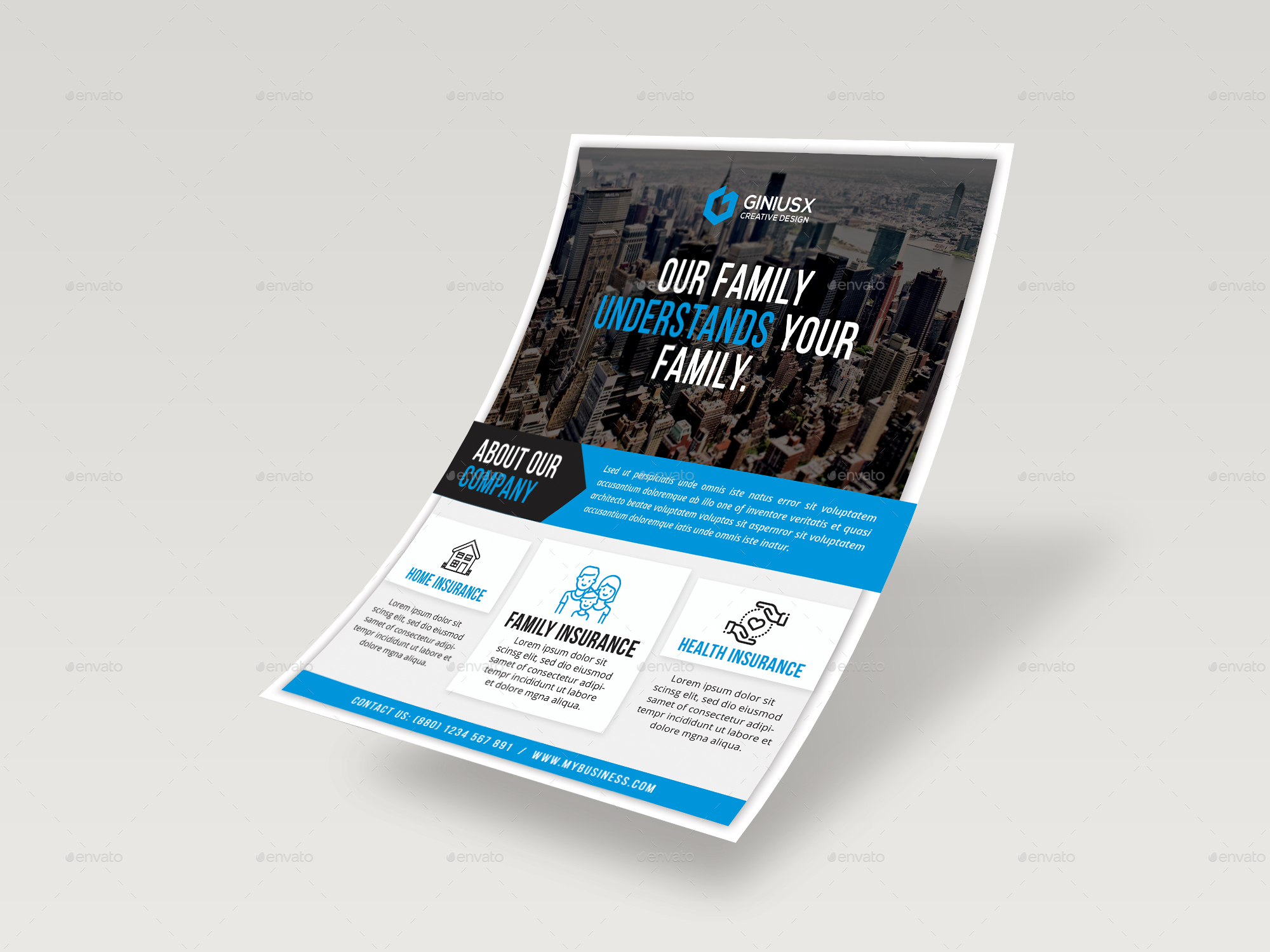 Insurance Flyer Template By Geniuspoint Graphicriver