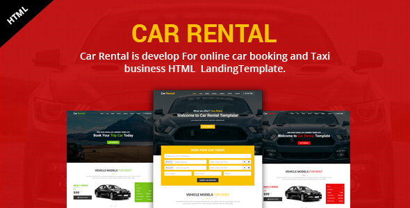 Image of Car Rental Landing HTML Template