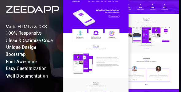 Image of zeedapp - App Landing HTML Template