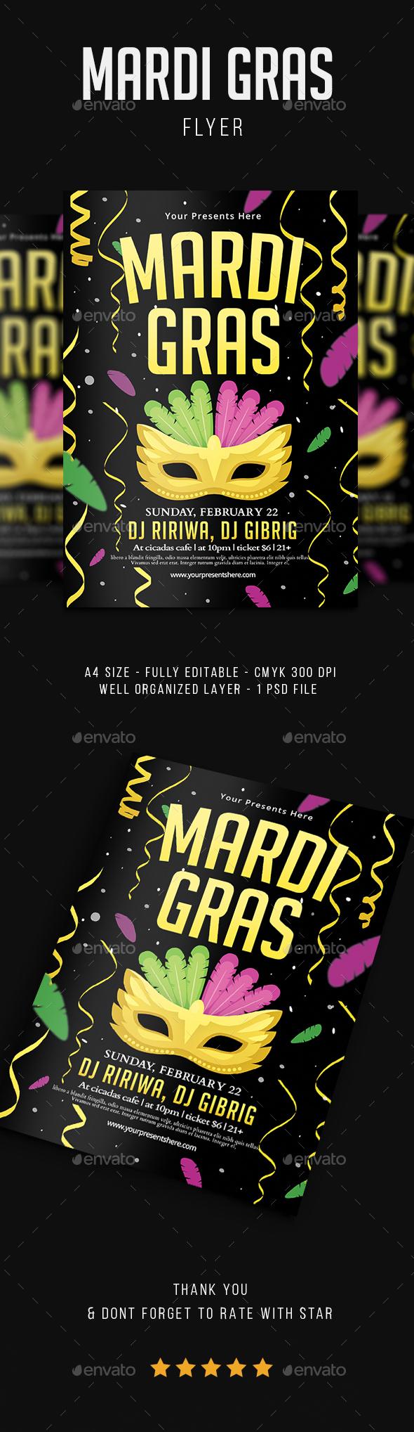 Mardi Gras Flyer Vol.4 - Flyers Print Templates