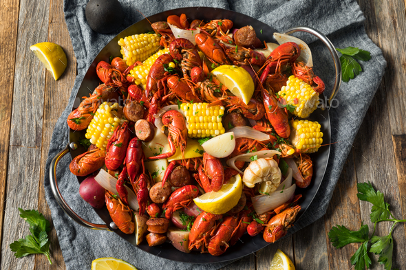 Homemade Southern Crawfish Boil - Stock Photo - Images