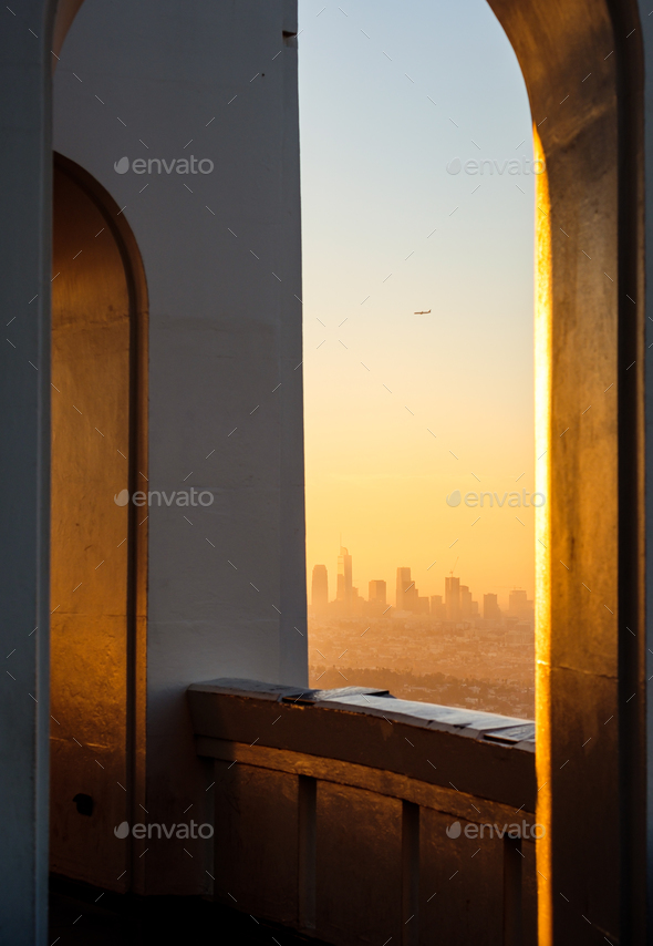 Architectural detail and Los Angeles skyline viewed from Griffith observatory - Stock Photo - Images
