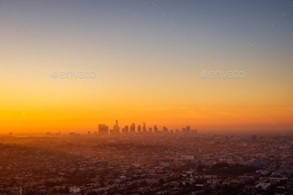 Los Angeles cityscape viewed from Griffith observatory at sunrise - Stock Photo - Images