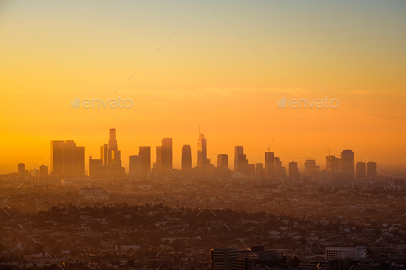 Los Angeles skyline viewed from Griffith observatory at sunrise - Stock Photo - Images