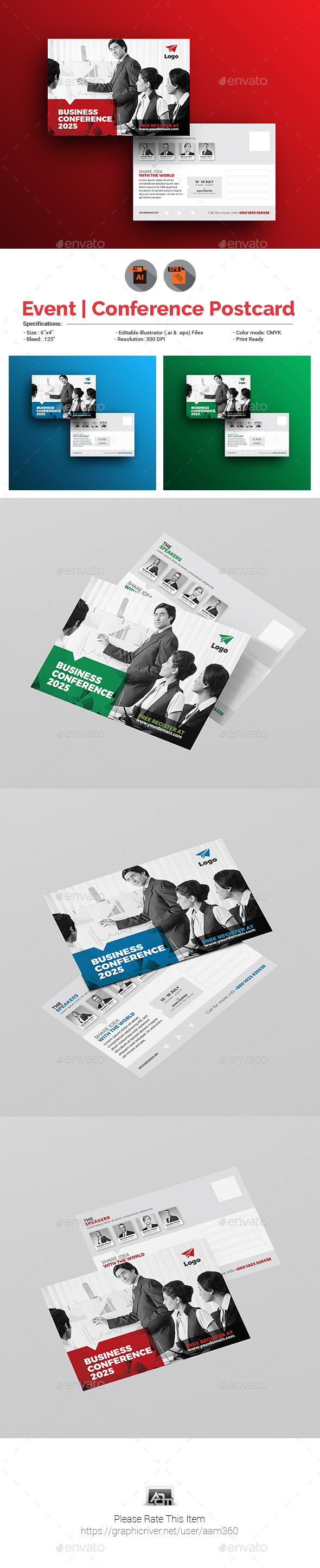 Conference / Event Postcard Template - Cards & Invites Print Templates
