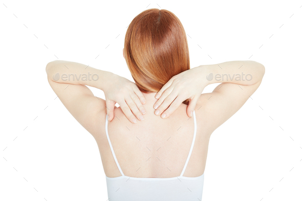 Young woman back with neck pain on white, clipping path - Stock Photo - Images