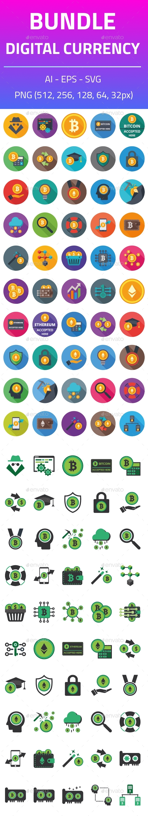 Digital Currency Bundle Icons - Icons
