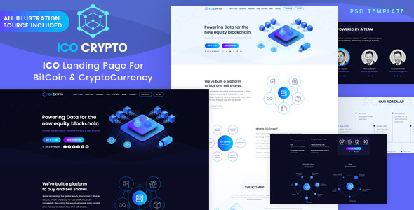 ICO Crypto – Bitcoin and Cryptocurrency Landing Page
