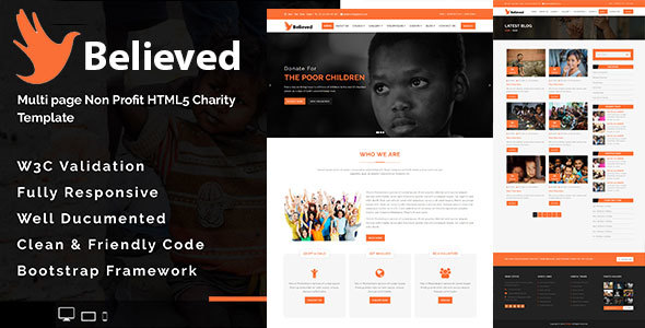 Image of Believed - Multipage Non-profit HTML5 Charity Template