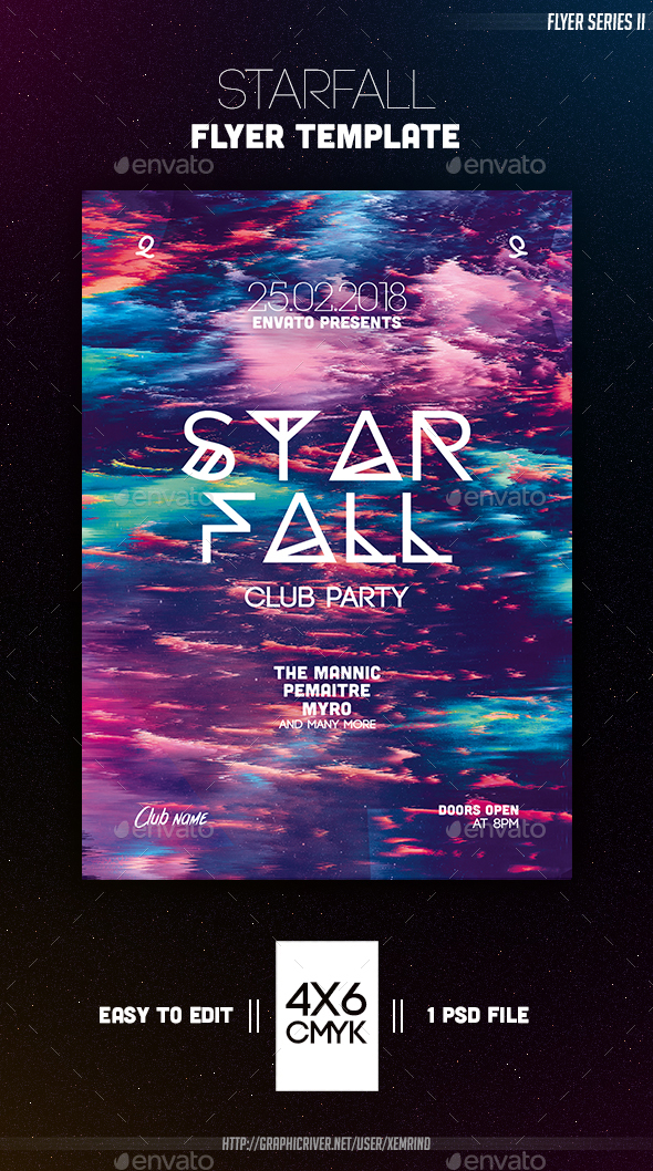 Starfall Flyer Template - Clubs & Parties Events