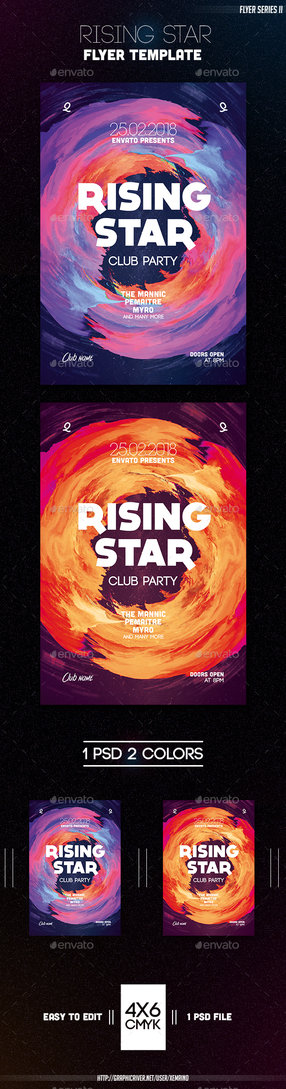 Rising Star Flyer Template - Clubs & Parties Events