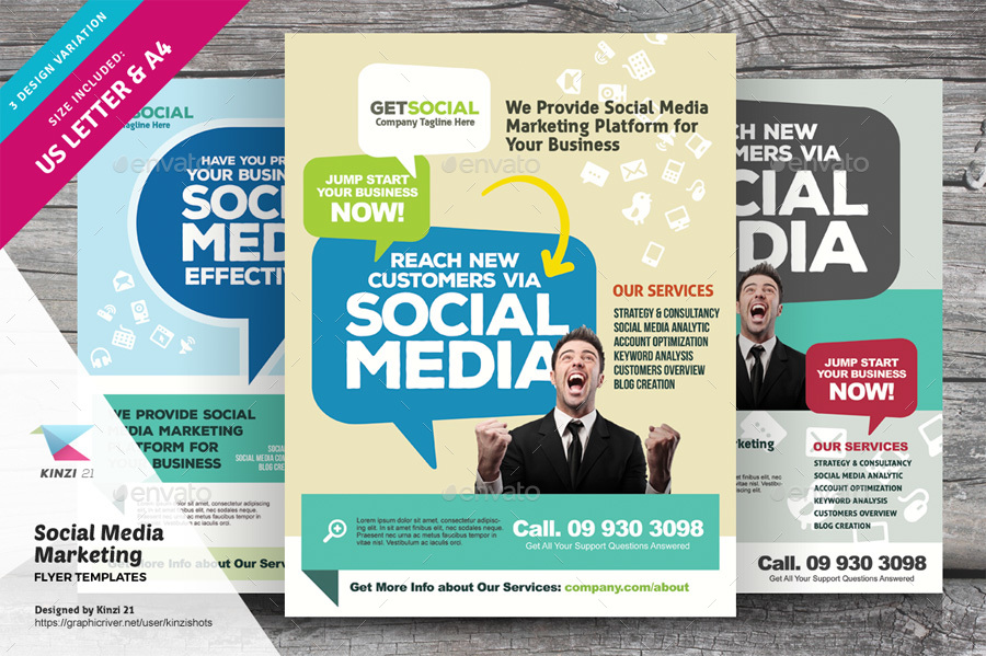 Social Media Marketing Flyer Templates By Kinzishots  Graphicriver
