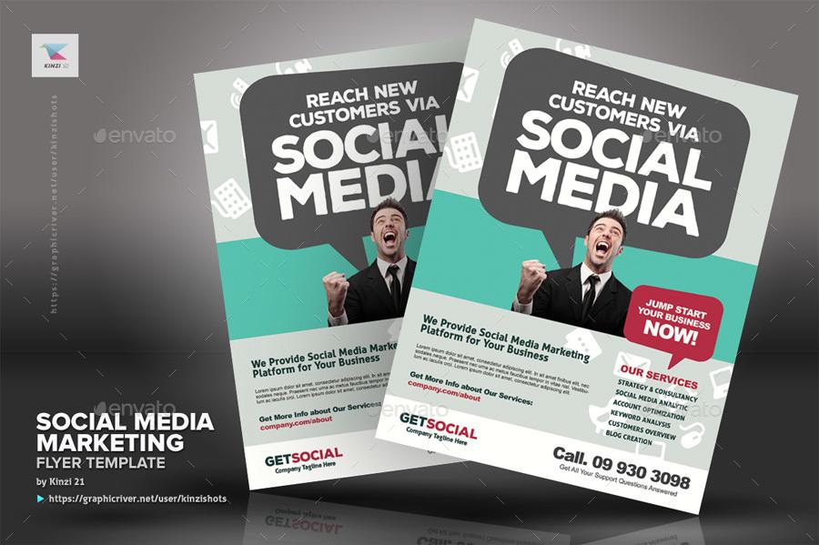 Social Media Marketing Flyer Templates By Kinzishots GraphicRiver - Marketing brochure templates