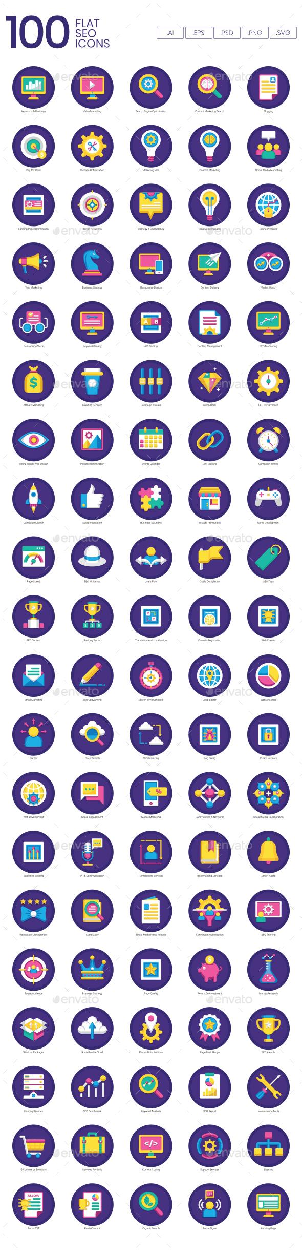 Flat SEO Icons - Web Icons
