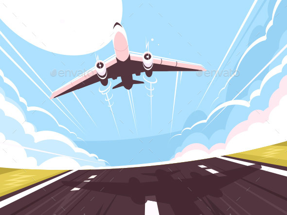 Passenger Plane Takes Off From Runway - Travel Conceptual