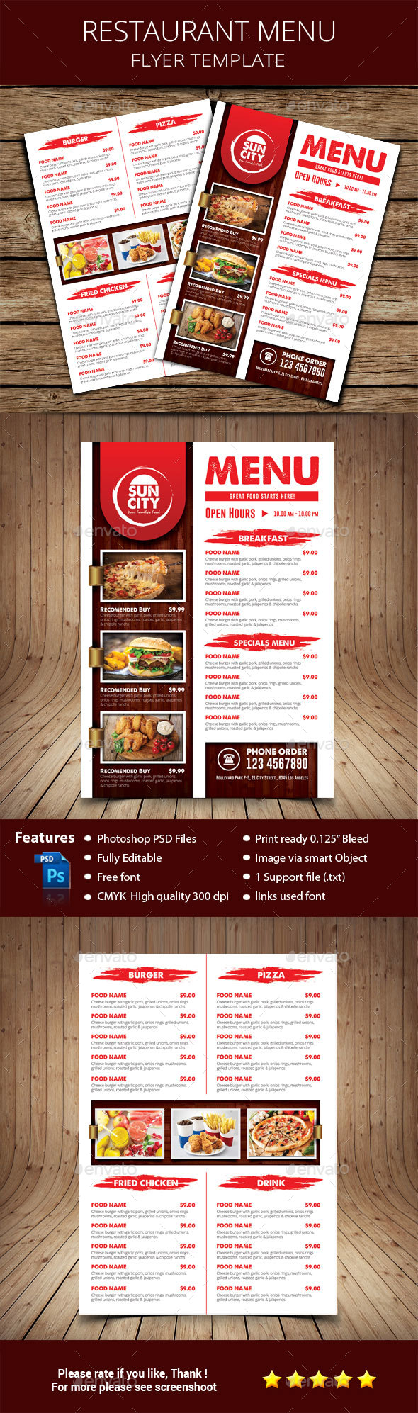 Rustic Restaurant Menu Flyer - Restaurant Flyers