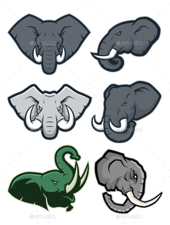 Elephant Mascot Logo - Animals Characters