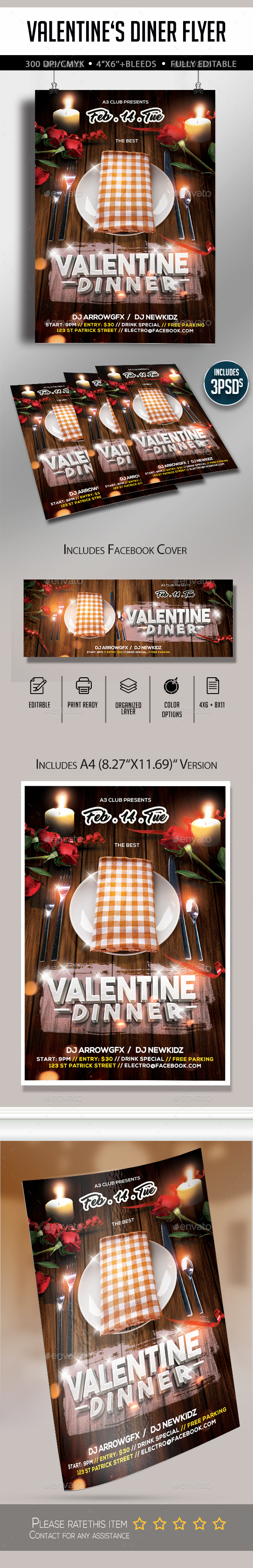 Valentine's Dinner Flyer - Clubs & Parties Events