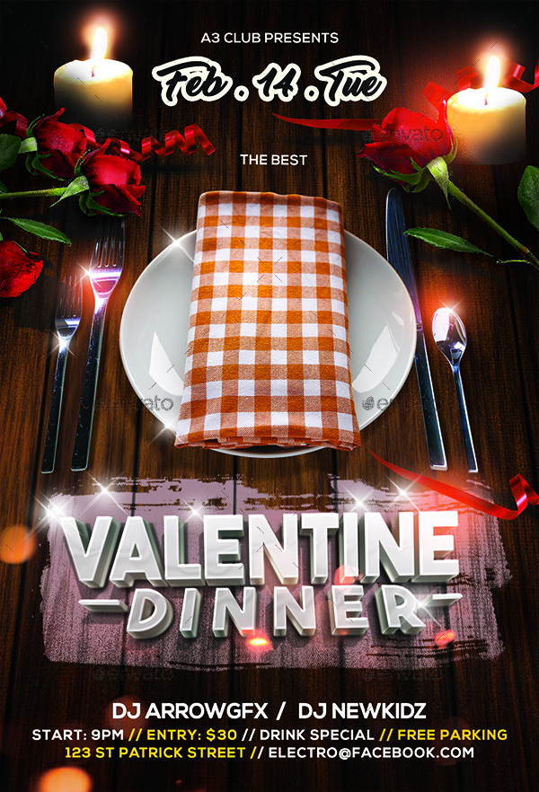 ValentineS Dinner Flyer By Arrow  Graphicriver