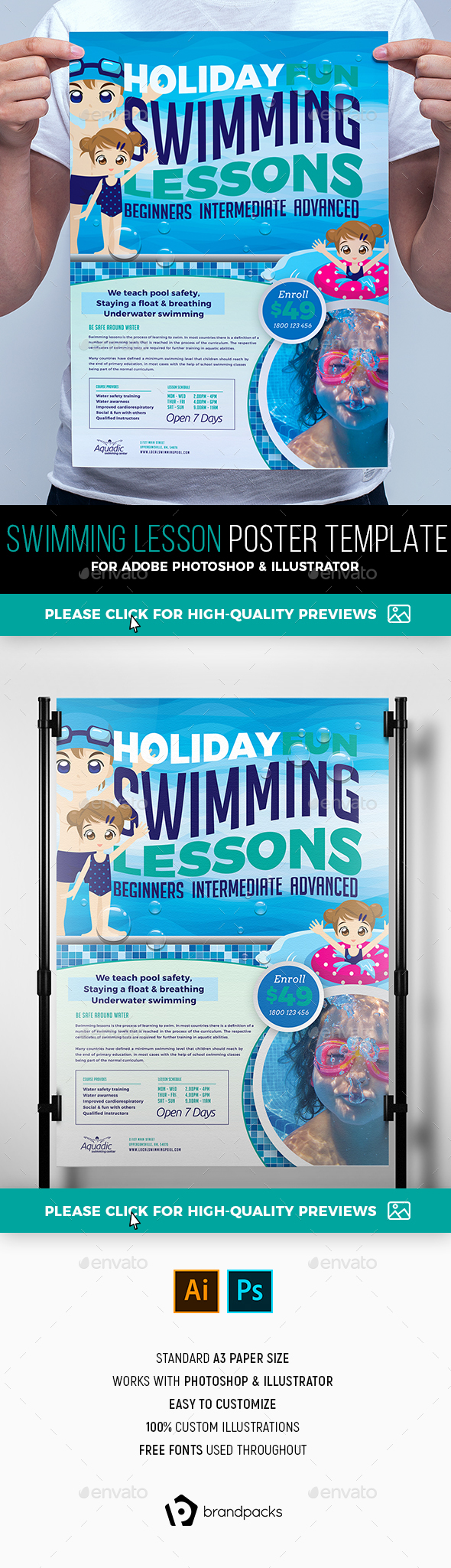 Swimming Lessons Poster Template - Sports Events