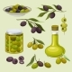 Glass Bottle of Oil and Canned Olives Branches