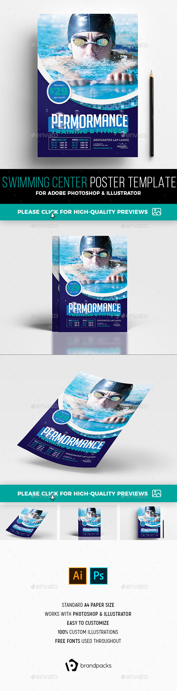 Swimming Centre Poster Template - Sports Events