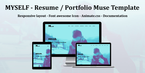 MYSELF - Resume or portfolio Muse Template - Personal Muse Templates