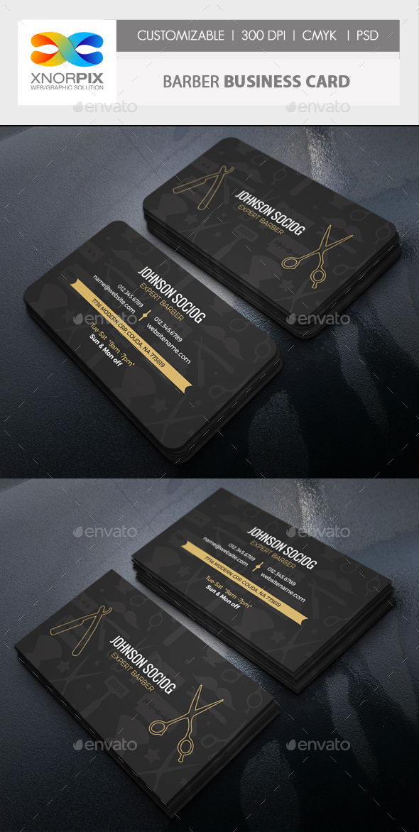 Barber Business Card by -axnorpix | GraphicRiver