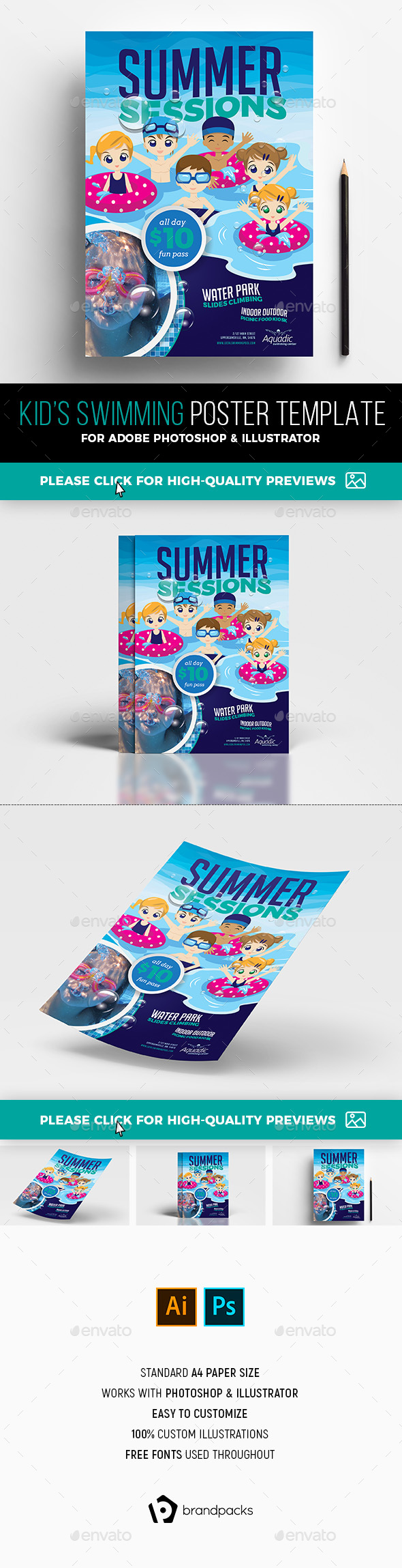 Kid's Swimming Poster Template - Sports Events