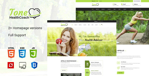 Image of Tone HealthCoach, Fitness & Personal Trainer HTML Template