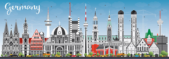 Germany City Skyline with Gray Buildings and Blue Sky. - Buildings Objects