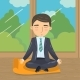 Businessman Meditating in Yoga Lotus Position
