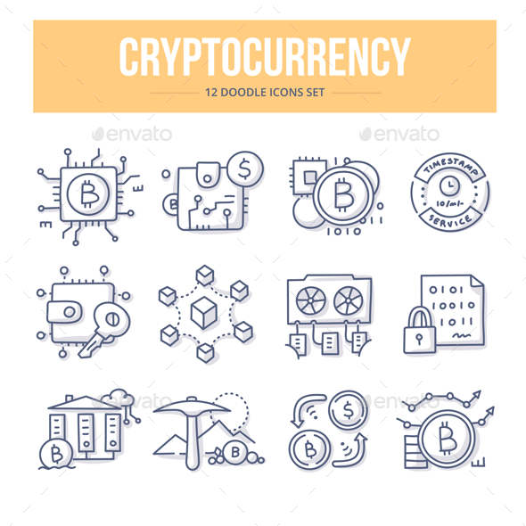 Cryptocurrency Doodle Icons - Technology Icons