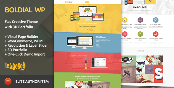 Boldial WP - Flat Creative Theme with 3D Portfolio