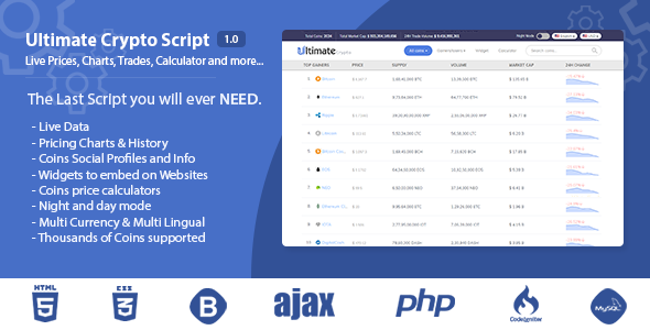 Ultimate Crypto Script - Live Prices, Charts, Trades, Calculator and more - CodeCanyon Item for Sale