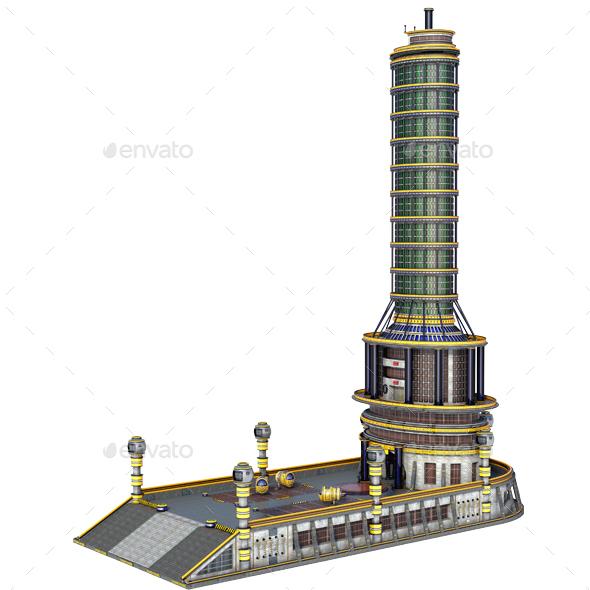 Sci-Fi Skyscraper - Architecture 3D Renders