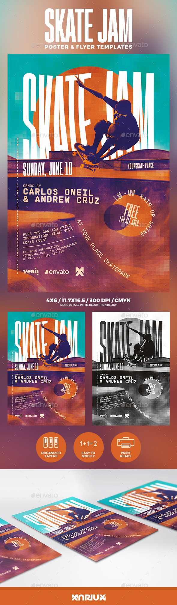 Skate Jam Flyer & Poster Template - Sports Events