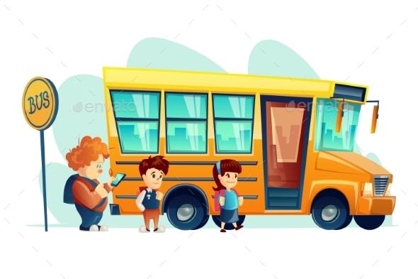 Vector Illustration of Children Get on School Bus - Miscellaneous Vectors
