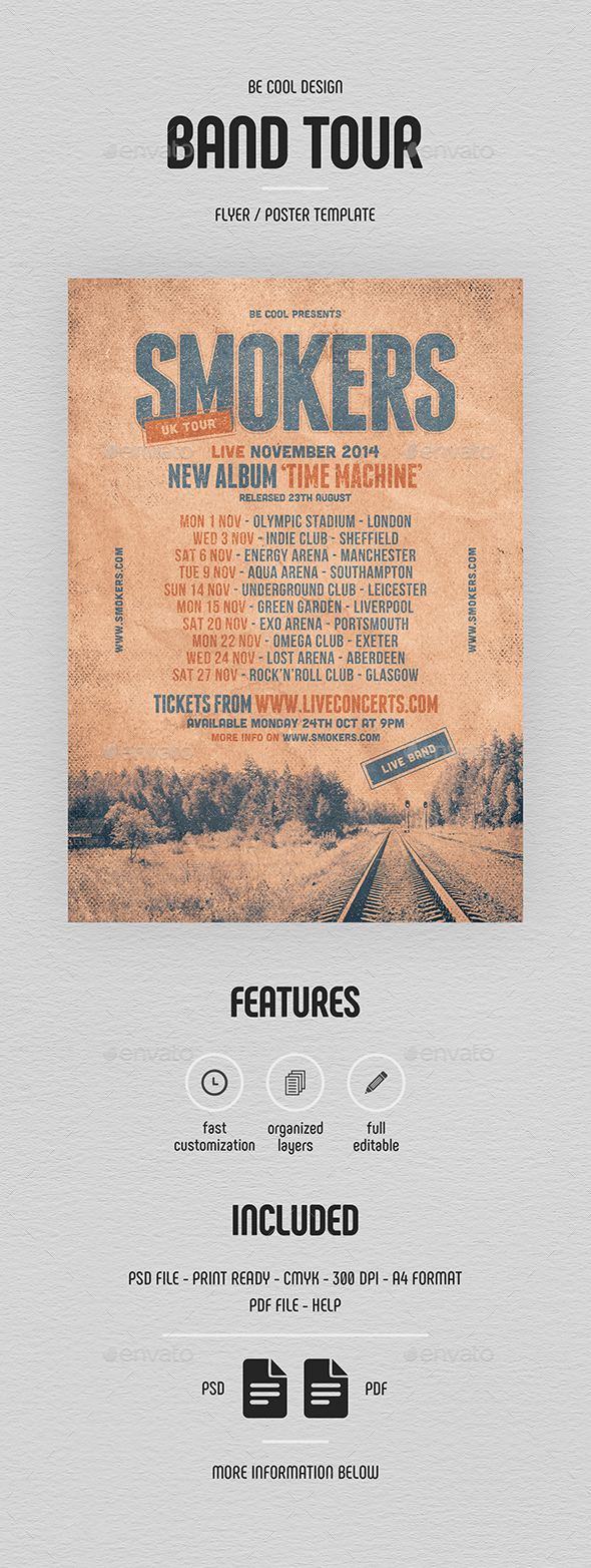 Grunge Band Tour Flyer/Poster - Concerts Events