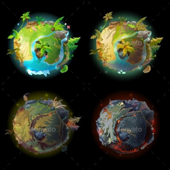 Vector Cartoon Planet Evolution Game Design Set - Landscapes Nature